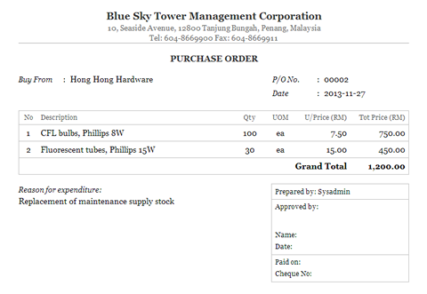 Purchase Order Print Out